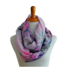 Soft Lily Flower Light Weight X-large Infinity Scarf Loop Cowl-Pink/Hotpink