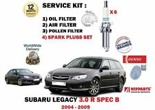 FOR SUBARU LEGACY 3.0 R SPEC B 2004-> OIL AIR POLLEN 3 FILTER KIT + SPARK PLUGS