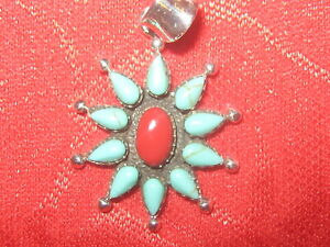 Vintage 925 Sterling Silver Turquoise Red Coral Flower Pendant Charm Necklace