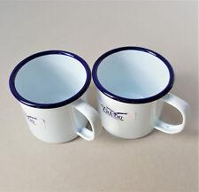 2 x Falcon Traditional White Enamel Mug Half Pint Camping Mugs Cup 8cm