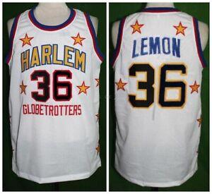 1970 Meadowlark Lemon #36 Harlem Globetrotters Basketball Jerseys Sewn White
