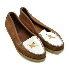 Polo Ralph Lauren Women's Crested Logo Loafers Brown White Bench Maine 9-1/2 M