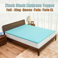 Cooling Gel Memory Foam Bed Mattress Pad Cover Topper Queen King Full Twin XL~