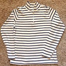EUC L.L. Bean Navy Cream Women's Cotton Sweater Half Zip Medium
