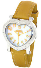 FREEZE LADIES REAL DIAMONDS HEART SHAPED WATCH SILVER TONE YELLOW GOLD FACE BAND