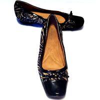 "Naturalizer N5 Women's Shoes Black Beige Animal Ballet Flats 1"" Heels Size 9M"