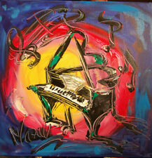 JAZZ MUSIC PIANO   -  CANVAS ORIGINAL OIL PAINTING ABSTRACT MODERN AYB79