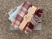 Laura Ashley Cranbourne Cranberry Wool Check Throw