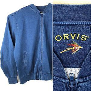 Orvis XXL Indigo Bomber Zip Sweatshirt 2XL Mens Cotton Fly Fishing Lure Logo