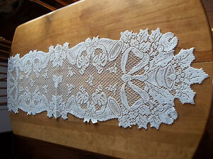 HERITAGE LACE IVORY/CREAM HORN/BELLS & BOWS RUNNER 14X54 BEAUTIFUL ITEM 2783