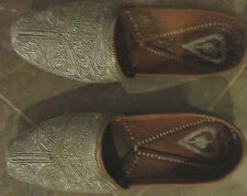 MENS LEATHER ORIENTAL DESIGN SILVER EMBROIDERY SLIPER SHOES SIZE 6 1/2