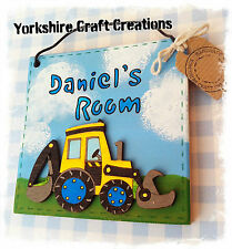 Digger Room Door Sign ~ PERSONALISED - ANY NAME - Boys Wooden Plaque Next Match