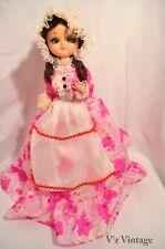 """Antique Big Eyed 60s Korean Made Pantyhose Doll Brunette Pink Dress 15"""""""