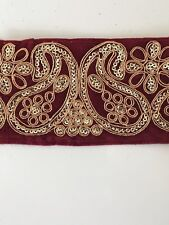 ATTRACTIVE INDIAN PAISLEY EMBROIDERY LACE TRIM -VELVET WIDE (MAROON)-ONE METRE
