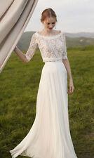 Long Bohemian Wedding Dresses 2017 Half Sleeves Lace Beach 2 Piece Bridal Gown