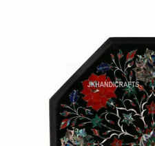 """12"""" Marble side end Table Top Pietra Dura Floral Inlay Art Handicraft Work Decor"""