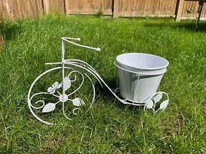 LARGE White Tricycle Bicycle Garden Planter Flower Pot Bike Garden Ornament 50cm