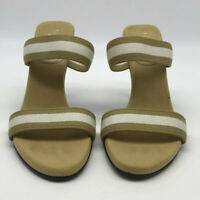 Gucci Tan And White Open Toe Mule Heels Size 335/5C