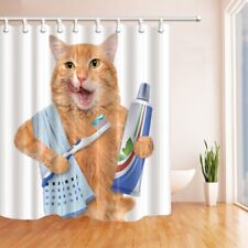 Animal Theme Shower Curtain Waterproof Fabric Cute cat and toothbrush & Hook 70""