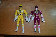 LOT OF 2 1995 BANDAI POWER RANGER CHROME PINK AND YELLOW TALKING ACTION FIGURES