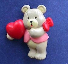 Sangamon Pin Valentines Vintage Bear Heart Girl Bow Red Holiday Brooch