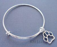 Expandable wire bangle charm bracelet Silver plated. Dog paw print charm.