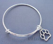 Expandable wire bangle charm bracelet Silver plated. Dog paw print charm.
