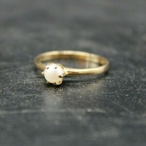 VINTAGE MID CENTURY 10k YELLOW GOLD JJ PEARL RING SIZE 6
