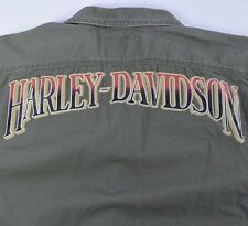 Mens Small Harley Davidson Motorcycles Army Green Embroidered Graphic Shirt