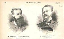 Portrait de Sesmaisons Consul de France à Québec & Frechette Canada GRAVURE 1882