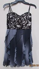 New SPEECHLESS size 5 Juniors Prom Homecoming Dress Sequins Ruffle Black Gray