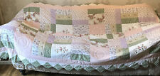 More details for vintage quilted patchwork bedspread/cover/ throw- shaped edges + 2 shams