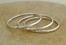 3 x STERLING SILVER 1.0mm WIDE STACKABLE BAND RINGS size 10  style# r1940