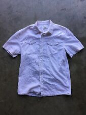 Loomstate Organic Cotton Button Up Short Sleeve Plaid Shirt sz Medium