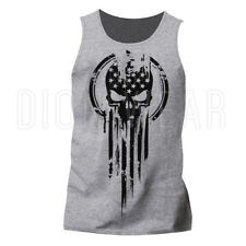 Men's Tank Top American Warrior Flag Skull Military T-shirt