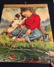 "New ListingCalendar Print ""Line's Busy"" Sleeping Boy Fishing Dog J. F. Kernan Art 16"" x 20"""