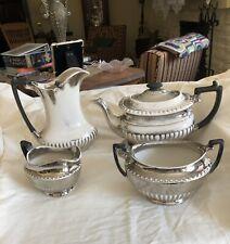 6 Piece Unique, Antique, Porcelain, Smokey/Silver, Edwardian Style Tea Set