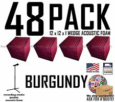 48 pack BURGUNDY Acoustic Wedge Studio Soundproofing Foam Wall Tiles 12x12x1
