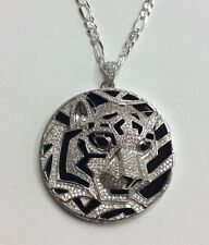 "REAL STERLING SILVER Tiger Medallion CZ Onyx PENDANT & 30"" Figaro CHAIN 40.5g"