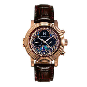 Heritor Automatic Legacy Brown Genuine Leather Watch in ION Over Stainless Steel