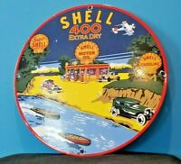 VINTAGE SHELL GASOLINE PORCELAIN GAS OIL SERVICE 400 EXTRA DRY STATION PUMP SIGN