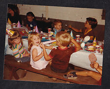 Vintage Photograph Adorable Little Children Sitting At Table for Birthday Party