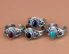 Adjustable Tibetan Silver Turquoise Onyx Amethyst Garnet 3 Gemstone Dotted Ring