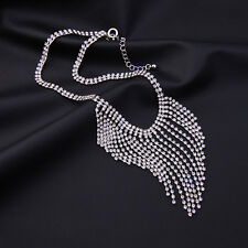 Sparkling Crystal Glass Silver Tone Alloy Fringe Choker Necklace Pendant