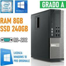 COMPUTER DESKTOP PC DELL OPTIPLEX 790 SFF I7 2600 8GB 240GB SSD RS232 WIN 10-