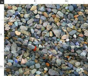 Beach Multi-Colored Photograph Stones Beach Spoonflower Fabric by the Yard