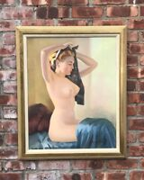 Minnesota Artist Paul H Winchell Oil Painting. Seated Female Nude. Signed C1950s