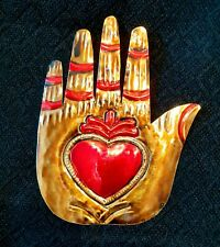 Mexican Tin Hand with heart Decoration /Milagros