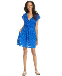 Profile Swimwear Cover-Up Sz S Cobalt Blue Crochet Hooded Swim Cover E409-3036