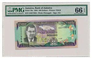 JAMAICA banknote 100 DOLLARS 1994. PMG MS-66 EPQ